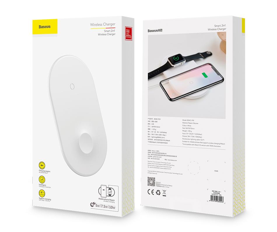 Đế sạc không dây 2in1 chính hãng Baseus dùng cho smartphone/ iWatch